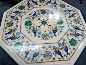 18quot; white Table Top Stone Inlay Pietra dura Art Work Home Decor