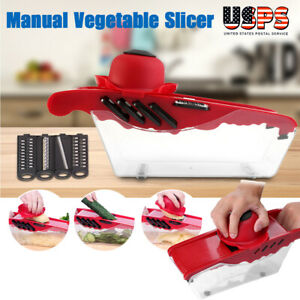5Blade Vegetable Fruit Potato Onion Mandoline Slicer Cutter Peeler Chopper Dicer