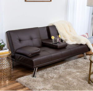 Futon Sofa Couch Flat Bed Brown Leather Recliner Theater Dorm Apt Furniture New