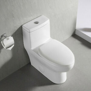 DeerValley Dual-Flush Elongated One-Piece Porcelain Toilet w/ Soft Closing Seat