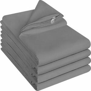 Zippered Pillow Cases Pillowcases Cover Brushed Microfiber 4 Pack Utopia Bedding