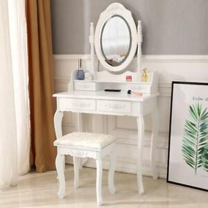 LED Lighted Mirror Vanity Table Set Makeup Dressing Desk 4 Drawers Wood