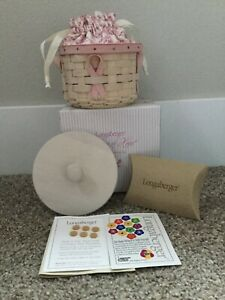 Longaberger 2006 Horizon Of Hope Whitewash Basket Liner Lid Protec Set Combo HOH