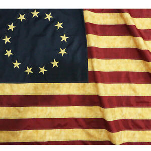 Anley Vintage Style Tea Stained Betsy Ross Flag 3x5 Foot Nylon Antiqued Flags
