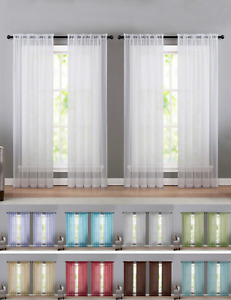 4 Pack Basic Home Sheer Voile Window Curtains Assorted Sizes amp; Colors