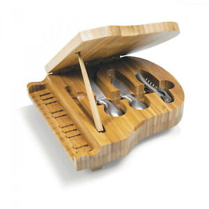 Picnic Time Cutting Board Piano Wood Stainless Steel Corkscrew Cheese Tools New