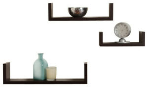 3pc Espresso Finish Floating U Shelves Wall Mounted Storage Display Home Decor