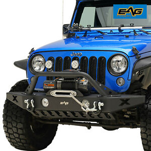 EAG Front Bumper with Skid Plate&Winch Plate Fit 07-18 Jeep Wrangler JK Offroad