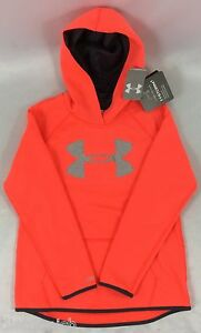 Under Armour GIRL'S Sweater Hoodie Storm 1259839 Pink Gray Logo Size YOUTH XXL