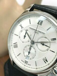Frederique Constant Chrono Quartz Silver Dial Leather Strap Watch FC-292MS5B6