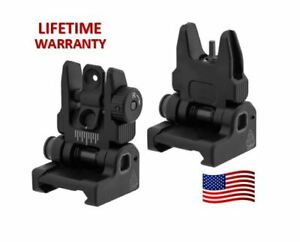 NEW Aluminum UTG ACCU-SYNC® Spring Loaded Flip Up Front Rear Sights MBUS Black