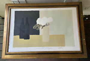 French BERNARD CATHELIN Inscribed Original Artist Proof Lithograph - White Roses