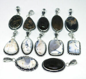 10pc Lot 925 Sterling Silver Natural Multi Dendritic Agate Pendants Mix Shape