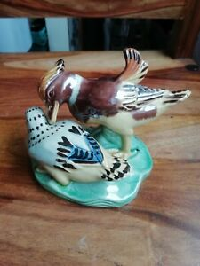Antique Majolica Ducks Ornament