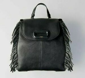 Maje M BACKPACK IN LEATHER WITH CHAIN $410 NEW Designer Fringe Detail Black