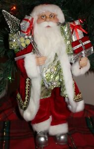 Standing 16quot; Christmas Santa Claus Shiny Silver right to his boots NWT $27.99