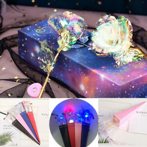 Gold Foil Rose Flower LED Luminous Galaxy light Mothers Day Valentine Day Gift
