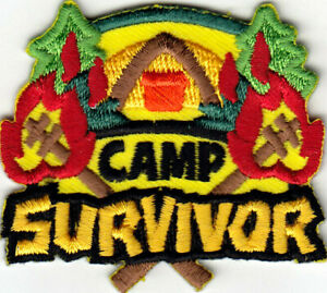 CAMP SURVIVOR Iron On Patch Scouts Cub Girl Boy Camping