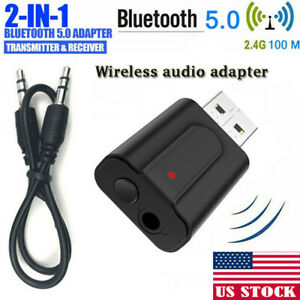 US 3.5mm USB Wireless Bluetooth 5.0 Music Audio Stereo Receiver Adapter Dongle