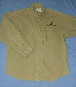 COLUMBIA Hunting Comfort System Khaki Long Sleeve Button Front Shirt Size LARGE