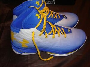 Men's Under Armour SC Steph Curry 2.5 Yellow Blue Basketball Shoes Size 13