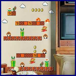 Giant Super Mario Build A Scene Peel & Stick Wall Decals Stickers For Kids Boys