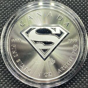 2016 Superman Silver Shield Royal Canadian Mint 1 oz Coin .9999 New In Capsule!