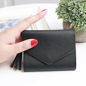 Cute Women Solid Small Leather Folding Coin Card Holder Lady Money Purse Wallet
