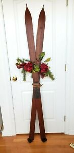 Vintage Antique Pointed Wooden Skis patina leather straps HOLIDAY SEASONAL DECOR $199.99