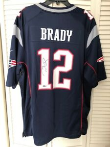 Tom Brady Signed Blue Authentic New England Patriots Jersey COA from TriStar