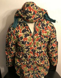 VTG Herter's Hudson Bay Camouflage Goose Down Hunting Jacket Coat Sz L As Is