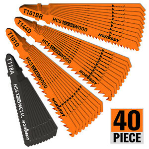 40PC T Shank Jig Saw Blade Set Metal amp; Woodworking HSS HCS Assorted Storage Case