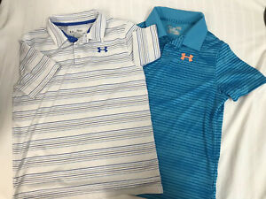 Lot 2 Under Armour Boys sz YLG Youth L Golf Short Sleeve Polo Shirts