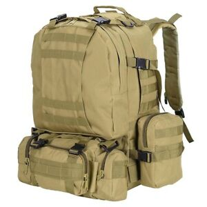 Military Molle Camping Backpack Tactical Camping Hiking Travel Bag Mud Color 55L