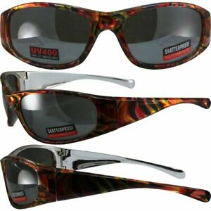 Kaleidoscope Motorcycle Glasses Silver amp; Orange Psychedelic Frames amp; Mirror Lens
