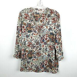 Philosophy Republic Clothing Womens Small Paisley Boho Long Sleeve Pullover Blou