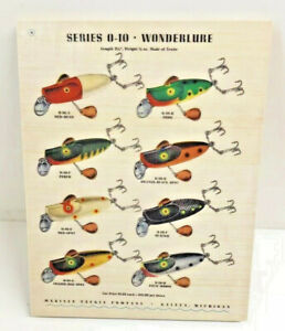 Makinen Tackle Company Wonderlure Color Chart Print Ad on Wood Old Fishing Lure