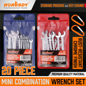 20PCS Combination Wrench Set Ignition Spanner Steel Tools Metric SAE Mini Small $15.95