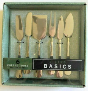 Bistro Cheese Tools Set of 6 Stainless Steel Boxed Cheese Knives Forks Spreaders