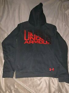 BOY'S UNDER ARMOUR RIVAL LOGO HOODIE CHARCOAL Youth XL Loose Coldgear 1342607 $17.16