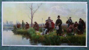 Antique 1894 Color Chromolithograph by Knapp Co LITH NY Fishing Scene Landscape $35.63