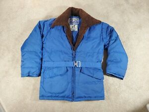VTG 80s Herters Goose Down Winter Coat Jacket Zip Up Womens Small Sherpa Collar