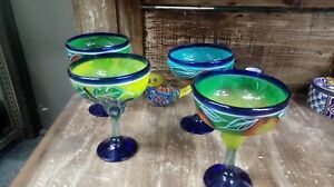 Set of 4 Hand-painted Mexican Margarita  Fruit Glasses Colorful