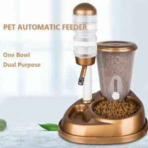 Dual Use Pet Cat Dog Automatic Feeder Large Capacity Water Fountain Food Bowl On  $25.99