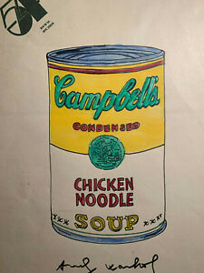 Andy Warhol Watercolour Painting Original Signed Campbell Soup