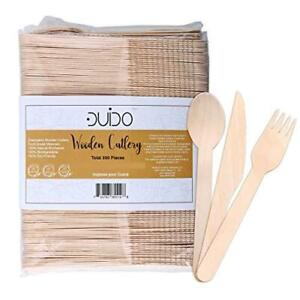 Disposable Wooden Cutlery Utensils Set – Pack of 275 110 Forks 55 Knives 110 S