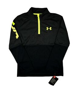 Youth Under Armour Pullover 1 4 Zip Long Sleeve Black Printed Shirt Top 4 5 6 7
