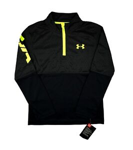 Youth Under Armour Pullover 1 4 Zip Long Sleeve Black Printed Shirt Top 4 5 6 7 $18.97