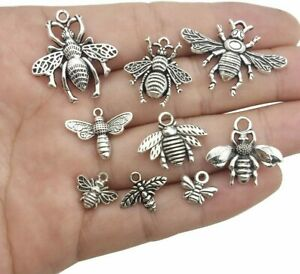 9 Bee Charms Pendants Bumblebee Charms Antiqued Silver Assorted Set Insect Wasp $3.99