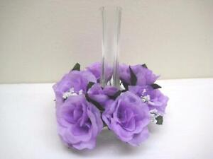 2 LAVENDER Candle Rings Roses Center Pieces Artificial Silk Flowers 3